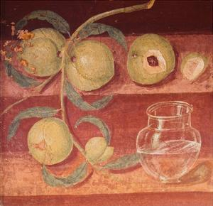 Fresco of Water Pot and Fruit in Pompeii Kitchen by Gustavo Tomsich