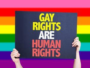 Gay Rights are Human Rights Card with Rainbow Background by gustavofrazao