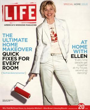 TV Talkshow Host Ellen DeGeneres Holding Paint Roller for Home Makeover Feature, May 20, 2005 by Guy Aroch