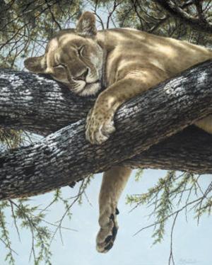 Lake Manyara Lioness by Guy Coheleach