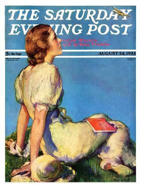 """""""Inspired by Poetry,"""" Saturday Evening Post Cover, August 24, 1935 by Guy Hoff"""