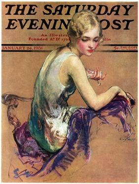"""""""Pastel Portrait,"""" Saturday Evening Post Cover, January 24, 1931 by Guy Hoff"""