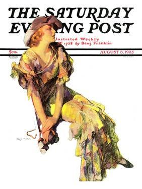"""""""Summer Frock,"""" Saturday Evening Post Cover, August 3, 1935 by Guy Hoff"""