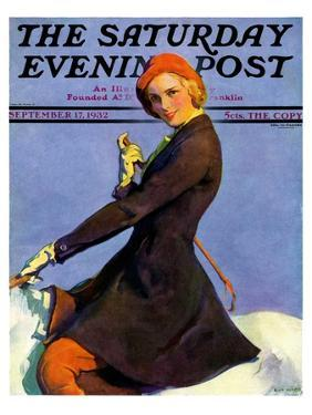 """""""Woman on Horseback,"""" Saturday Evening Post Cover, September 17, 1932 by Guy Hoff"""