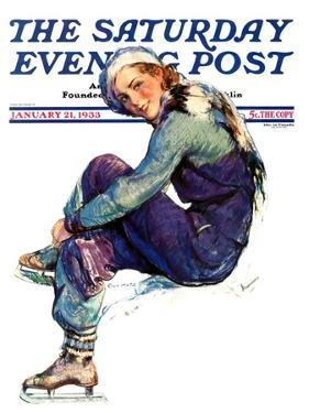 """Woman Skater,"" Saturday Evening Post Cover, January 21, 1933 by Guy Hoff"