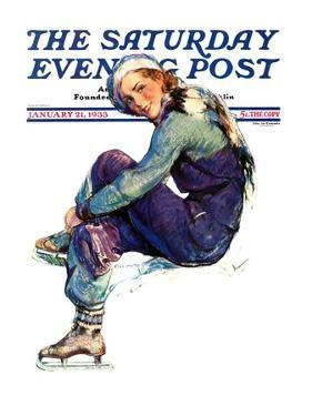 """""""Woman Skater,"""" Saturday Evening Post Cover, January 21, 1933 by Guy Hoff"""