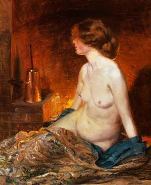 Nude Figure by Firelight by Guy Rose