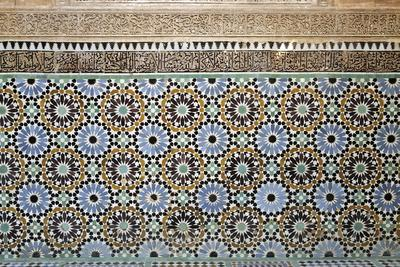 Architectural Detail of Traditional Zelliges and Frieze, Marrakesh, Morocco, North Africa, Africa