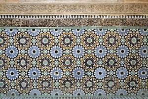 Architectural Detail of Traditional Zelliges and Frieze, Marrakesh, Morocco, North Africa, Africa by Guy Thouvenin