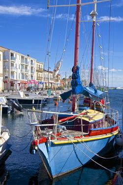 Boats in Harbor, Meze, Herault, Languedoc Roussillon Region, France, Europe by Guy Thouvenin