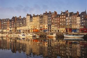 Boats Moored at the Old Dock, Honfleur, Normandy, France by Guy Thouvenin
