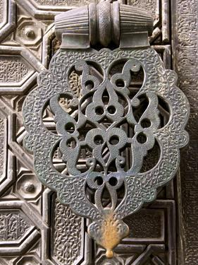 Bronze Knocker on Wooden Engraved Doors, Reales Alcazares, Seville, Andalucia, Spain, Europe by Guy Thouvenin