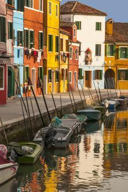Colored House Facades Along a Canal, Burano Island, Venice, Veneto, Italy by Guy Thouvenin