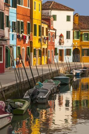 Colored House Facades Along a Canal, Burano Island, Venice, Veneto, Italy