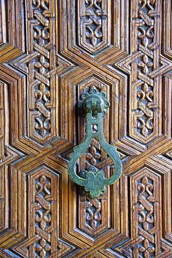 Detail of a Wooden Door and Bronze Knocker by Guy Thouvenin