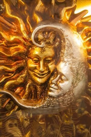 Moon and Sun Carnival Mask Decorations, Venice, Veneto, Italy, Europe