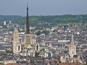 Skyline, Notre Dame Cathedral and Town Seen From St. Catherine Mountain, Rouen, Normandy, France by Guy Thouvenin