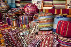 Typical Cushions in Street Shop, Marrakech, Morocco, North Africa, Africa by Guy Thouvenin
