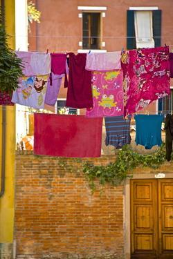 Washing Day, Laundry Drying, Castello, Venice, UNESCO World Heritage Site, Veneto, Italy, Europe by Guy Thouvenin