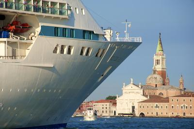 Tourist Cruise Liner and Vaporetto Sailing on Bacino Di San Marco