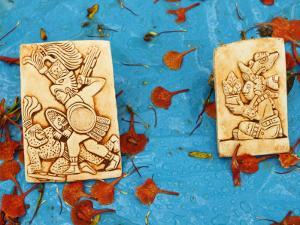 Souvenirs Depicting Mayan Figures at Chichen Itza Site by Guylain Doyle