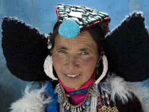 Woman Wearing Traditional Headgear (Perak) for Ladakh Festival. by Guylain Doyle