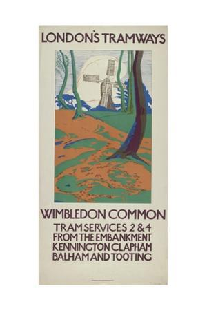 Wimbledon Common, London County Council (Lc) Tramways Poster, 1923 by GW Widmer