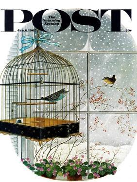 """Birdtalk,"" Saturday Evening Post Cover, January 6, 1962 by Gyo Fujikawa"