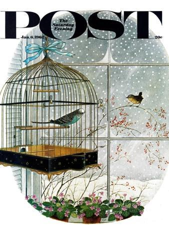 """Birdtalk,"" Saturday Evening Post Cover, January 6, 1962"