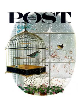 """Birdtalk,"" Saturday Evening Post Cover, January 6, 1962 by Gyo Fujikawa"