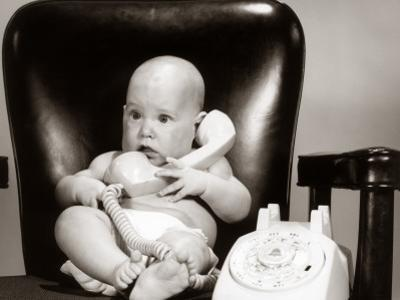 Baby on Telephone, Playing Executive Businessman by H. Armstrong Roberts