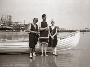 Man and Two Women Posing in Bathing Suits, in Front of Boat, in Atlantic City by H. Armstrong Roberts