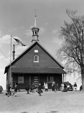 Rural One Room Schoolhouse, Group of Children at Recess by H. Armstrong Roberts