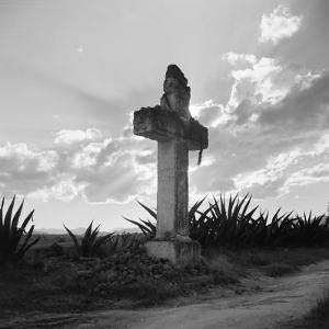 Silhouette of Stone Cross Near Church of Los Remidos, Mexico City by H. Armstrong Roberts