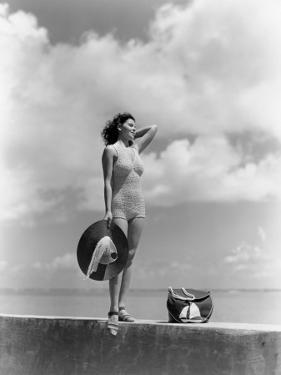 Woman Wearing Knit Bathing Suit by H. Armstrong Roberts