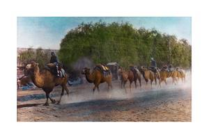 Painting of a Caravan of Camels Walks Single File and Carrying Packs by H. C. and J. H. and Deng White and Bao-Ling