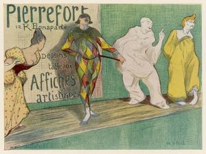 Poster Depicting Entertainers, Singers Commedia del Arte by H.G. Ibels