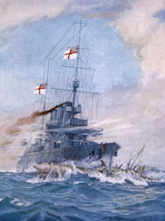 Hms Birmingham Commanded by Captain Arthur Duff Ramming the German Submarine U15