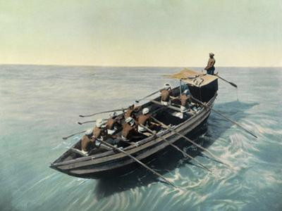 A Masula Boat with Crew Leaves the Madras Shore to Meet Ships by H.M. Herget