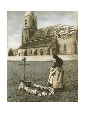 A Woman Grieves at the Grave Site of Her Son, Killed in World War I by H.M. Herget