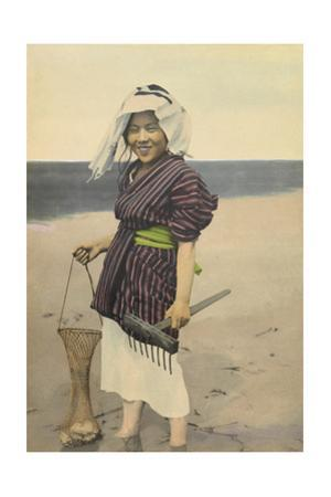 A Woman Smiles and Holds a Net Filled with Clams and a Digging Tool by H.M. Herget