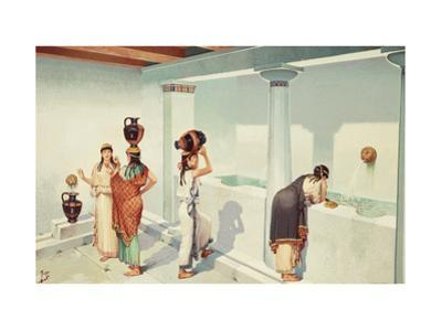 Ancient Greek Women Fill Jars with Water at a Town's Fountain House by H.M. Herget