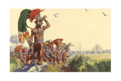 Bronzed Maya Warriors Look Upon a City their Forbears Conquered by H.M. Herget