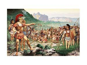 Leonidas Bids Farewell to Allies before the Battle at Thermopylae by H.M. Herget