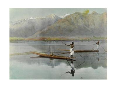 Men Fish from their Boats in the Scenic Dal Lake by H.M. Herget
