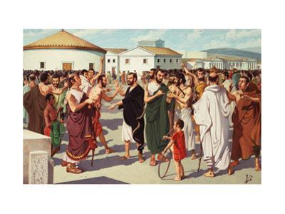 Men Vote to Ostracize a Fellow Citizen in the Athenian Agora by H.M. Herget