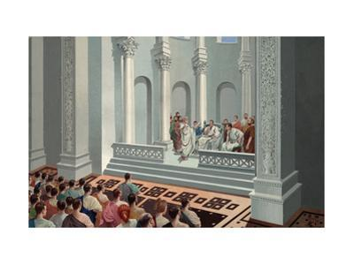Provincial Governor Hears Legal Case in Basilica or Court of Law by H.M. Herget