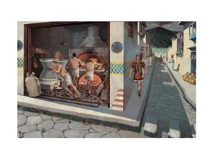 Roman Soldier Walks Down Pompeii Street Past a Bakery by H.M. Herget