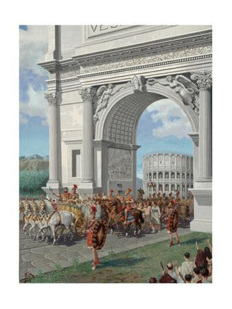 Roman Soldiers Lead Chained Captives in Triumphal Procession in Rome by H.M. Herget