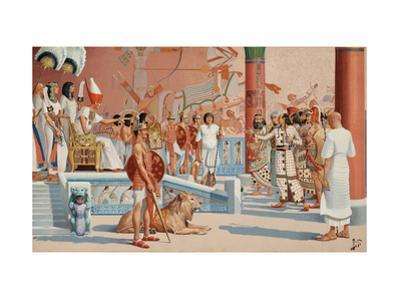 Seated on a Throne, Ramesses II Receives an Envoy from a Hittite King by H.M. Herget